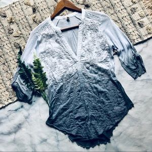 Anthropologie Tiny Embroidered Button Up Blouse